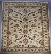 An Indian wool Bhadoi carpet, hand spun merino and local Indian wool on cotton warp and weft, the