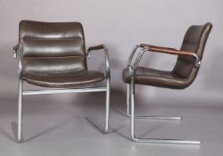 A pair of brown leather and tubular chrome cantilever armchairs c.1970/80s