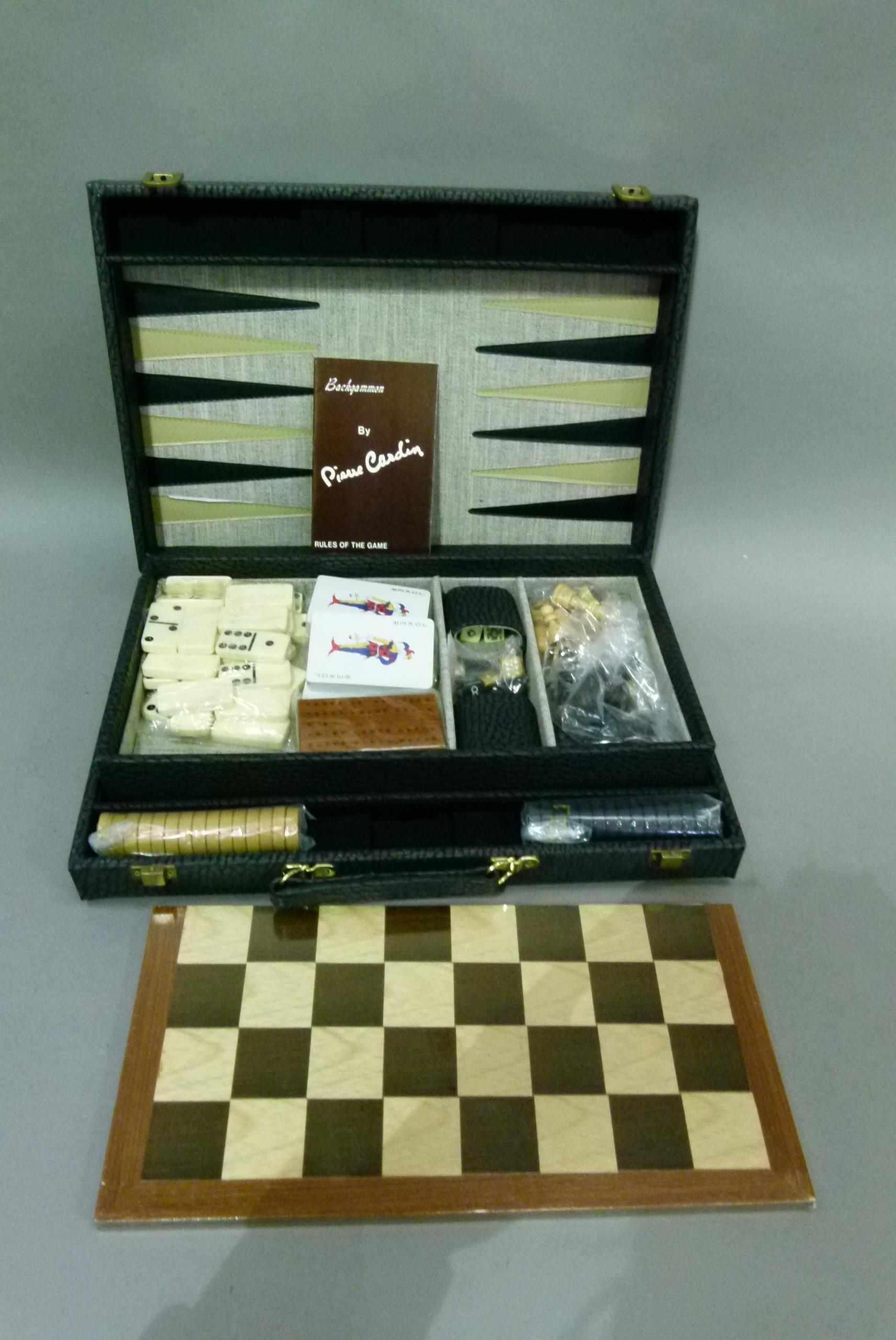 A games compendium comprising backgammon board, checkers board, dominos, cards, cribbage, dice and - Image 3 of 4