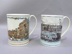 A pair of limited edition Shand Kydd pottery mugs, printed with a view of Greenwich and of St Pauls,