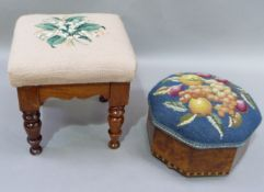 A Victorian stool of square outline on turned legs with later lily of the valley needlework cover,