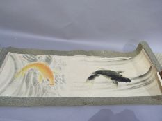 A Japanese scroll painted in watercolour with carp (at fault)
