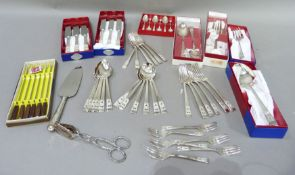 A part suite EPNS community plate cutlery in boxes comprising, six table knives, six table forks,