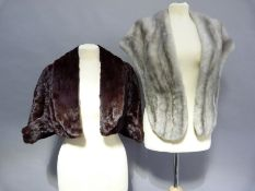 A platinum mink stole together with a dyed squirrel cape (2)