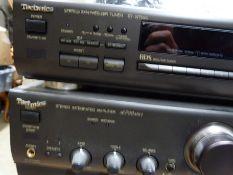 A Technics stacking system comprising synthesizer, tuner, integrated amplifier, compact disc