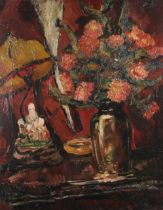 ENGLISH SCHOOL (c.1930/40s), Still life of Dahlias held in a vase on a table beside a Chinese
