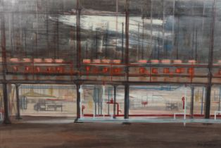 ARR DRUIE BOWETT (1924-1998), Glass Bulbs, Harworth, factory interior, oil on canvas, signed and