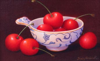 ARR TRISH HARDWICK (b.1949), Cherries in a wine taster, still life, oil on canvas, signed to lower