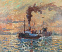 ARR GEORGE FAGAN BRADSHAW (1887-1960), Steamship passing a ship at anchor, oil on canvas,