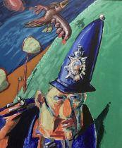 ARR JAKE ABRAMS (b.1965) The Bobby, oil on canvas, 86cm x 70cm, framed