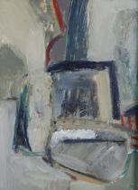 RUSSIAN SCHOOL (20th century), Abstract in green/grey and blue, oil on board, signed and dated (19)