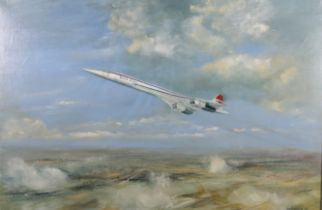 ARR D G CHATFIELD (1933-2007), Concorde, taking off, oil on canvas, signed and dated (19)77 to lower