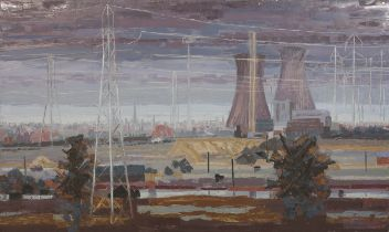 ARR DRUIE BOWETT (1924-1998), Drax Power Station, landscape with cooling towers, oil on canvas,