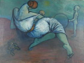ALAN PETERS (Mid 20th century), Reclining woman with children, oil on canvas, signed to lower right,