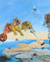 ARR NATHAN TURNBULL (20th century), 'Dream a Copy of Dali', acrylic on artist's board, attribution