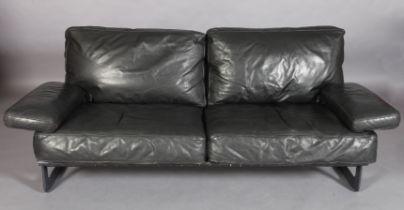 DE PAS, D'URBINO & LOMBAZZI FOR ZANOTTA, ITALY, c.1950s, Grand Italia sofa, black leather three