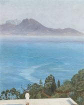 CURRIER, Arab male looking out across a channel to the light on the far coastline, oil on board,