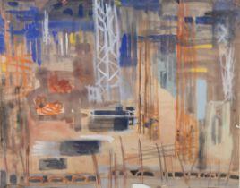 ARR DRUIE BOWETT (1924-1998), Industrial landscape, watercolour, signed to lower right, 51cm x 63cm,