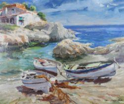 M VIDIELLA (mid 20th century), 'Adriatic Shore', beached fishing boats in a small cove, oil on