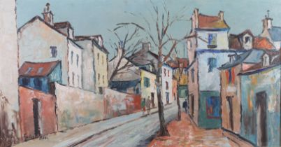 ARR GEORGE HANN (1900-1979), French street scene with figures, oil on canvas, signed to lower