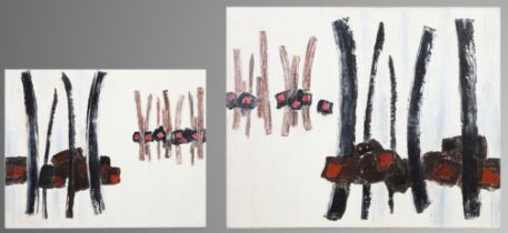 ARR DRUIE BOWETT (1924-1998) Dyptic, verticals in black and brown with red, oil on canvas, signed to