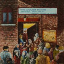 W* Palmer, 20th/21st century, Sheffield Empire, figures at the stage door, acrylic on canvas, 46cm