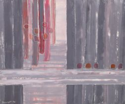 ARR DRUIE BOWETT (1924-1998), Bleo 1970, verticals in mauve, oil on canvas, incised, signed and