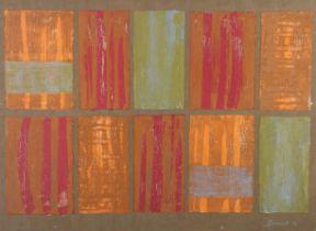 ARR DRUIE BOWETT (1924-1998), Verticals in panels, in orange, crimson and brown, mixed media,
