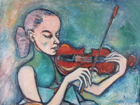 ALAN PETERS (Mid 20th century), The Violinist, half portrait, female, oil on canvas, signed to lower