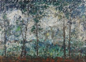 R J MARGRETTS (mid 20th century), Through Pines, oil on board, signed to lower right, label verso,