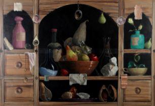 ARR DEBORAH JONES (1921-2012), Still life of fruit, wine, bottles and shells on a set of shelves