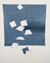 ARR DRUIE BOWETT (1924-1998), Blue square on white with falling square, oil on canvas, signed to