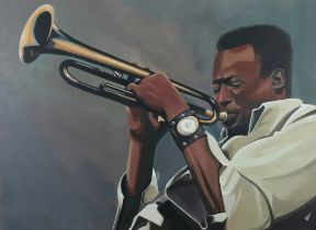 ARR NATHAN TURNBULL (20th century), Miles Davis, portrait of the renown jazz player, acrylic on