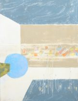 ARR DRUIE BOWETT (1924-1998), Abstract with blue circle, oil on canvas, signed and dated (19)90 to