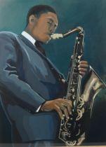 ARR NATHAN TURNBULL (20th century), 'John Coltrane', portrait of the renown jazz player, three-