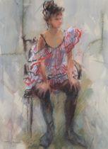 ARR YVONNE TOCHER (1920-2013), Charlie Girl, dancer resting, full portrait, mixed media, signed to