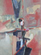 RUSSIAN SCHOOL (20th century), Abstract in blue, fox red and green, oil on canvas, signed and