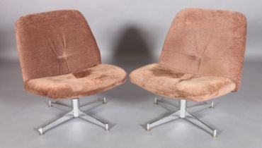 HOWARD KEITH FOR HK FURNITURE, LONDON, c.1970s, a pair of Pebble swivel lounge chairs upholstered in