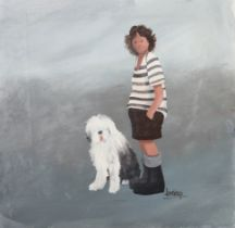 ARR BRIAN SHIELDS 'BRAAQ' (1951-1997), braaq, full portrait, wearing a black and white striped