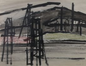 ARR DRUIE BOWETT (1924-1998), Pitheads, ink, colour wash and pastel, signed and dated (19)67 to