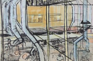 ARR DRUIE BOWETT (1924-1998), Sheffield Twist and Steel Company, the factory, ink, colour wash and