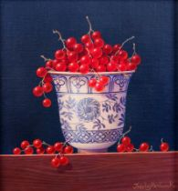 ARR TRISH HARDWICK (b.1949), Redcurrants in a Chinese beaker, still life, oil on canvas, signed to