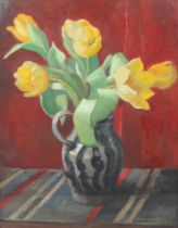 ARR FLORENCE FIELDHOUSE (1895-1974), Still life of yellow tulips in a black and grey striped jug,