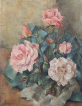 ELLEN SOAR (mid 20th century), Still life of pink roses, oil on canvas, signed lower left, 50cm x