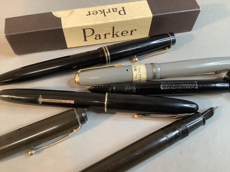 A Parker Victory fountain pen, black case, 14k gold nib, original box; Two Sheaffer fountain pens, - Image 3 of 3