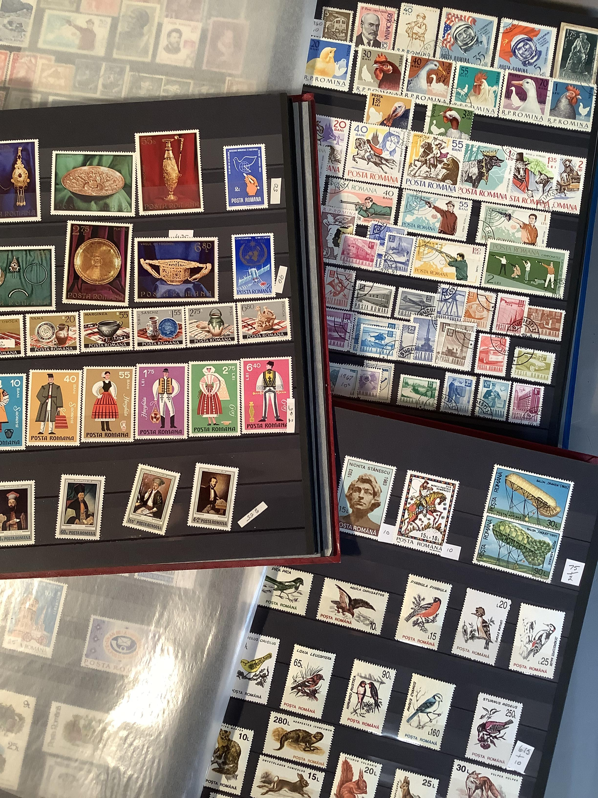 Three Stock Books with a large collection of Romanian postage stamps dating from 1925 to 1990s, a