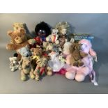 A quantity of soft toys including plush bears by various manufacturers including Manhattan Toy