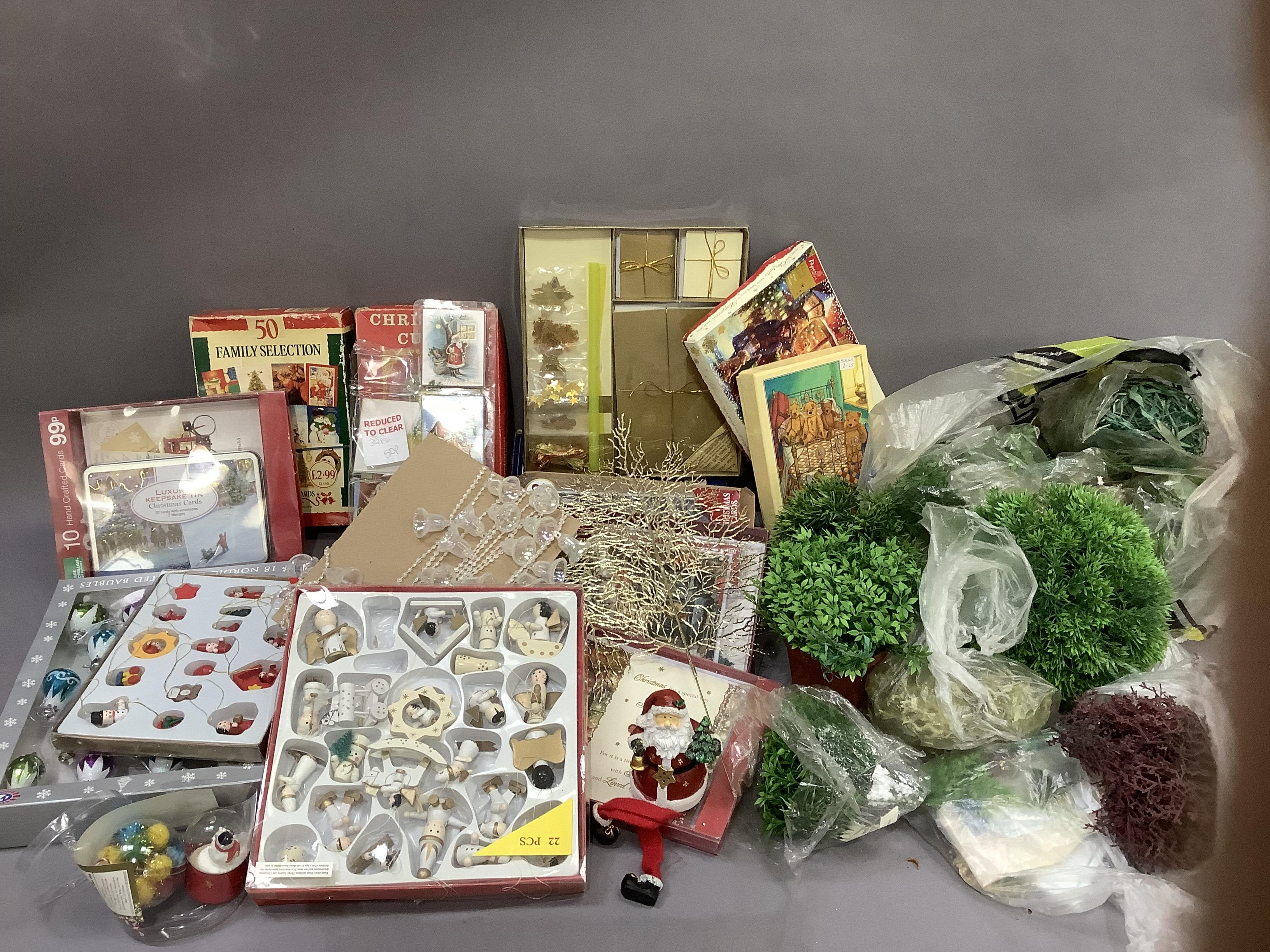 A quantity of Christmas cards, Christmas decorations, cotton reels, etc - Image 2 of 4