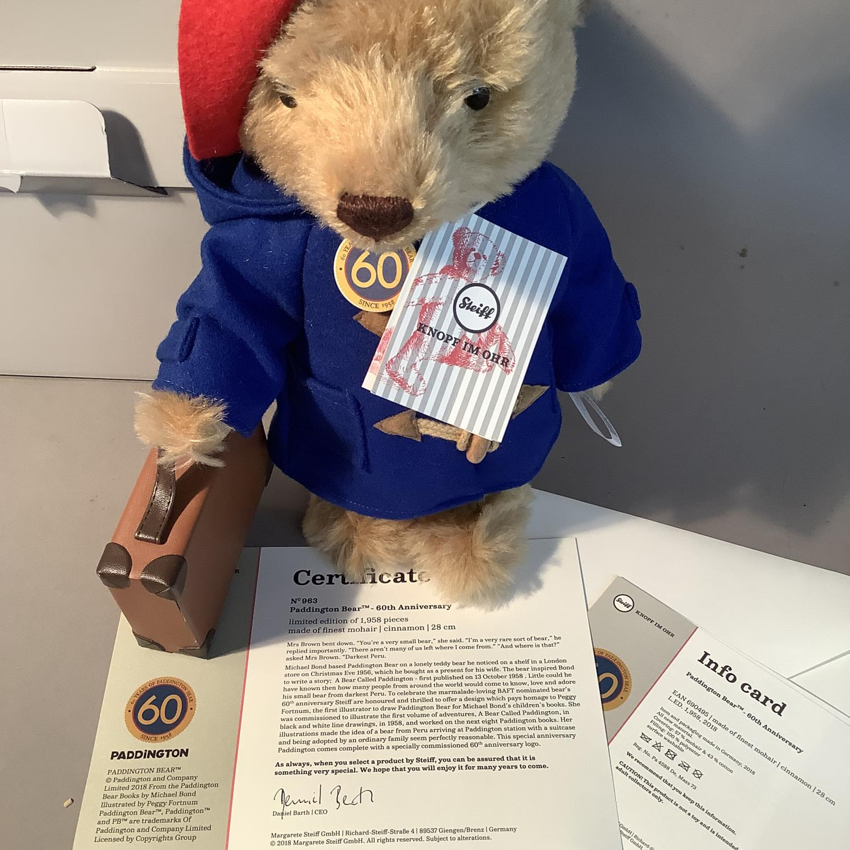 A Steiff limited edition 60th anniversary Paddington Bear, 28cm high, boxed - Image 3 of 3