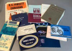 Vintage and later car brochures to include Hillman Superminx Mark III, Austin Mini drivers handbook,
